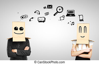 social media concept - man and woman with smiling box on...