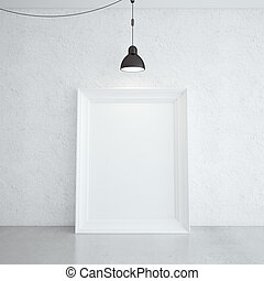 white frame in room and lamp