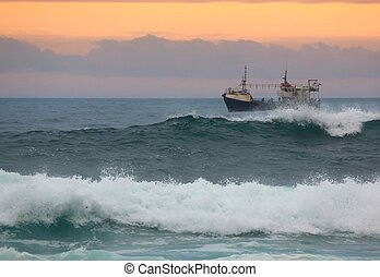 Fishing Trawler - Fishing trawler off the coast off South...