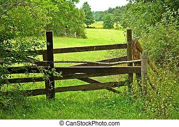 Fence in a field.