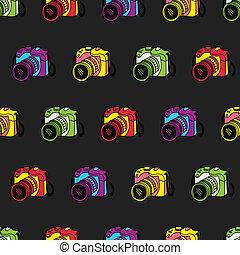 camera pattern vintage style