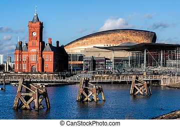 Pierhead and Millenium Centre buildings Cardiff Bay