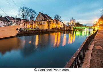 Dane river in Klaipeda, Lithuania - Klaipeda (Lithuania) at...