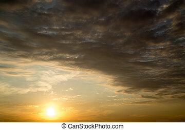 美しい, 太陽, 夜明け, 空