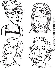 cartoon girl faces