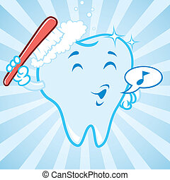 cartoon happy brushing teeth