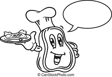 caricatura, carne, burbuja, discurso