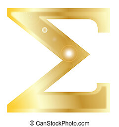 Sigma - a letter from the Greek alphabet isolated over a...
