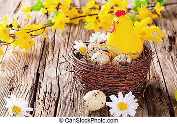 Easter colored eggs on wood - Easter still life with...