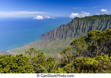 Kalalau Valley Panorama, Kauai, Hawaii Panoramic view of the...