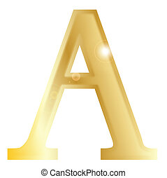 Alpha - a letter from the Greek alphabet isolated over a...