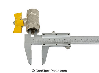 Water valve set and Vernier caliper isolated on white...