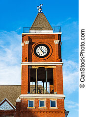 Clock tower of historic court house - Clock tower of...