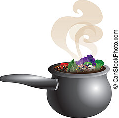 Chunky Soup Pot - Vector Illustration of a Chunky Vegetable...
