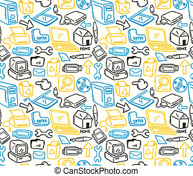 computer doodle seamless pattern