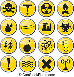 toxic waste icon set