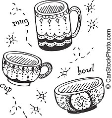 decorated cups