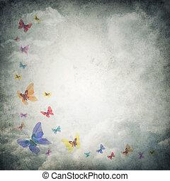 Grunge, Plano de fondo, premade, mariposas, plantilla, nubes...