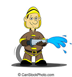 fireman - bold, confident firefighter holding a hose with...
