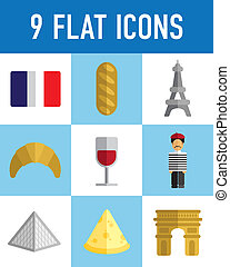 flat french icons