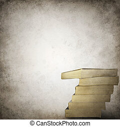 Grunge background template with stack of books