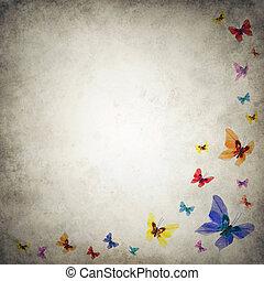 grunge, premade, fundo, modelo, enxame, borboletas
