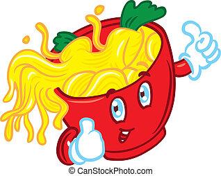 happy face mascot noodle
