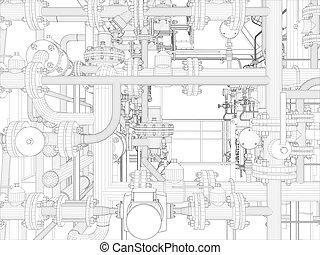 Industrial equipment. Wire-frame render