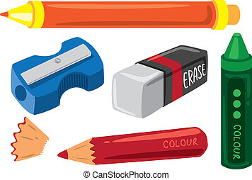 school stuff - marker color pencil crayon eraser and...