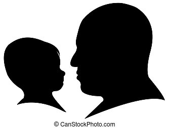 father and bay boy head silhouette vector