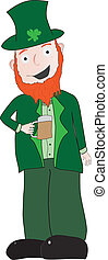 Drinking leprechaun - Leprechaun in green suit drinking what...