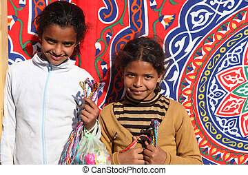 Street sellers in Egypt - DAHAB - JANUARY 23. Young street...