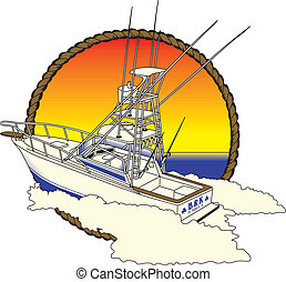 Offshore Boad, Fishing - Offshore boat in sun, ocean rope...