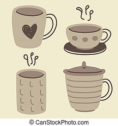 set of doodle cups