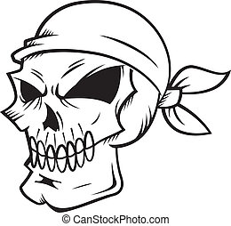 skull wearing bandana isolated on white backgroud