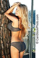 Sexy blonde beauty posing in underwear.