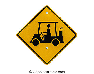 Golf Cart Crossing Caution Sign - Golf cart crossing caution...