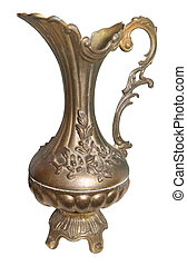 Antique Bronze Jug isolated with clipping path