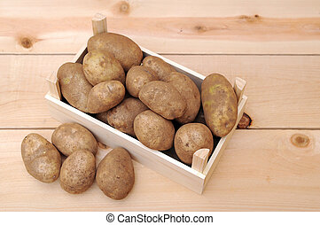 russet potatoes  - a lot of russet potatoes on tray