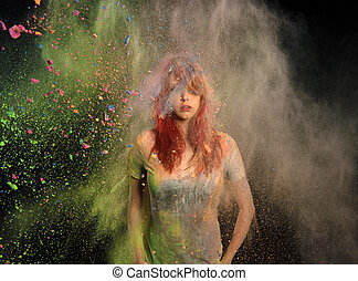 Girl with Colored Powder Exploding Around Her - Redhead girl...