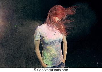 Girl Flinging Red Hair