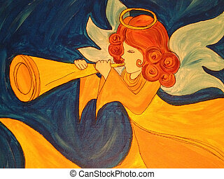 Angel With Trumpet  - Golden angel with trumpet