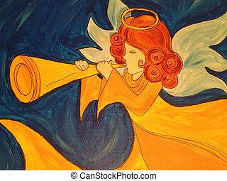 engel, met, trompet