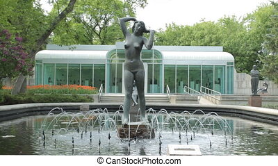 Nude woman - Fountain in the park with statue of nude woman