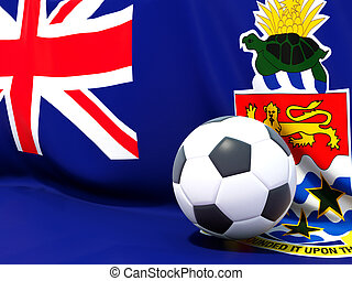 Flag of cayman islands with football in front of it