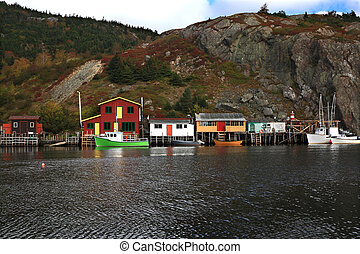 Fishing: Docks, Cabins, Boats on Quidi Vidi Lake Harbor,...