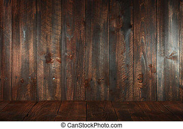 Wooden Grungy Empty Background Insert Text or Objects -...