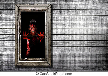 Image of Bleeding Woman in Window - Bleeding Image of Woman...