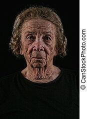 anciano, viejo, mujer, negro, Plano de fondo