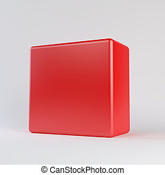 Red cube with rounded edges. Isolated render on a white...